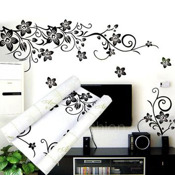 Beautiful Black Flowers Removable Wall Stickers Charms Vinyl Wall Decals for Home Room Art Decor DIY 44(L) X 33.8(W)cm VVF