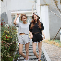 Fashion Summer Women Sportswear Solid Tracksuits Short-sleeve Casual Sport Costumes 2 Piece short Set