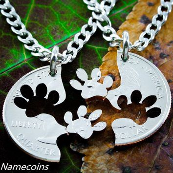 Dog Jewelry, Paw Print Necklace Set, Best friends necklaces, cut coin, key chain, or collar tag