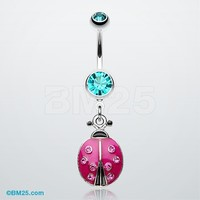 Adorable Ladybug Sparkle Belly Ring