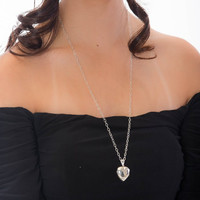 Sterling Silver Heart Photo Locket Long Chain Necklace