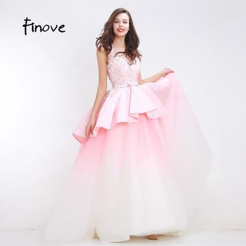 Finove Light Pink Beading Prom Dresses Two Layers Bow Belt 2017 New Flowers Appliques Floor Length Elegant Long Dresses