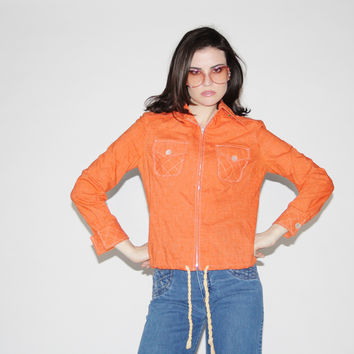 Vintage 1970s Orange Cotton Jacket