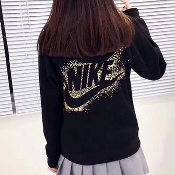 Nike Gold Logo Women Zip Up Hoodie Jacket Sweater Sweatshirts