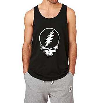 Loo Show Mens Grateful Dead Steal Your Face Black Tank Top