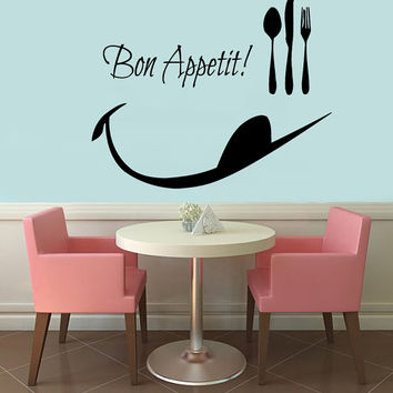 Wall Decals Love Quotes Phrase Words Bon Appetit Spoon Folk Cafe Kitchen Decor Interior Design Vinyl Sticker Decal Home Art Murals KG725
