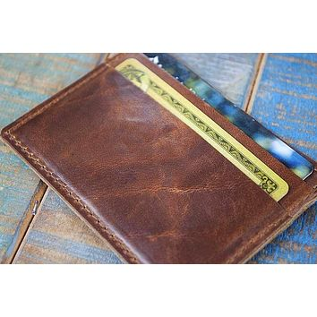 5-Slot Super Slim Front Pocket Card Sleeve Wallet (Horween Cavalier Leather)