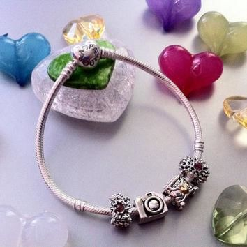 New Authentic PANDORA Valentine's Bracelet with Sterling Silver Pandora Charms