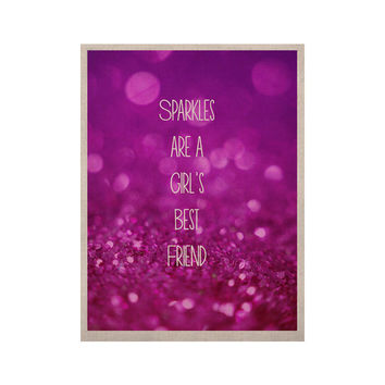 "Beth Engel ""Sparkles are a Girls Best Friend"" Purple Glitter KESS Naturals Canvas (Frame not Included)"
