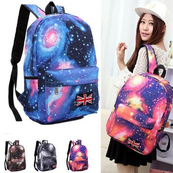 Fashion Women Girl Canvas Bag Galaxy Print Cosmic Spcae Backpacks Schoolbag Travelling Backpack Campus lovers dream star shoulder computer leisure bag [8081695047]