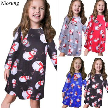 New Cute Kids Girls Baby Xmas Long Sleeve Snowman Christmas Print Swing Dress Child Xmas Party Clothing Red Attention