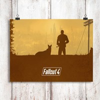 Fallout 4 Man and The Dog Poster Print Wall Decor Canvas Print - piegabags.com