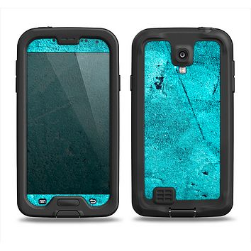 The Vibrant Blue Cement Texture Samsung Galaxy S4 LifeProof Fre Case Skin Set