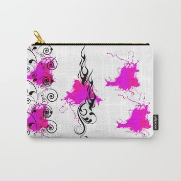 HOT PINK FLAMES Carry-All Pouch by violajohnsonriley