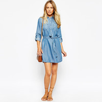 Blue Long Sleeve Denim Dress with Waist Strap