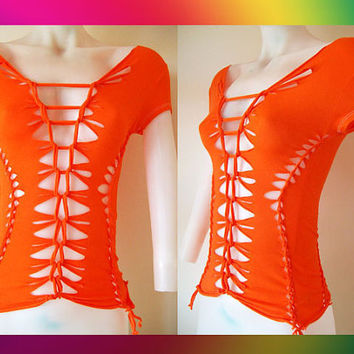 Juniors / Womens Sexy Cut Orange Top 80's Inspired Colors Size Small, Medium, Large, XL, 2XL, 3XL