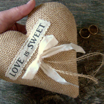Wedding Ring Pillow, Ring Bearer, Wedding Ring Holder, Ring Bearer Cushion, Burlap Heart, Rustic Chic, Boho Wedding, Valentine Wedding