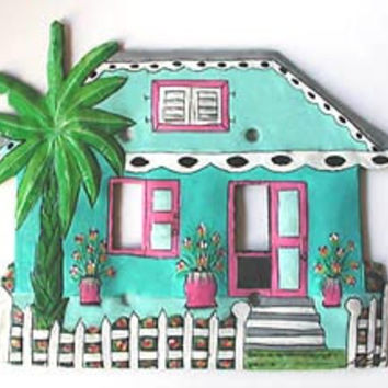 Light Switch Cover - Double- Hand Painted Metal Turquoise Caribbean House - Haitian Steel Drum Art - S-1025-TQ-2