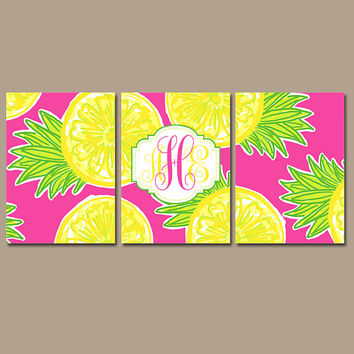 MONOGRAM Wall Art - Pineapple Artwork - Yellow Hot Pink Lime - Initial Pictures -Lilly Baby Girl Nursery-CANVAS or Print - Set of 3 Bathroom