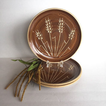 Vintage Stoneware Plates in Wheat Design Set of 3