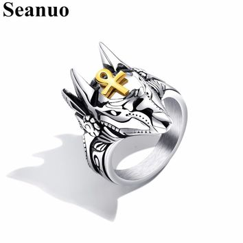 Seanuo 2018 Designer Anubis Head Stainless Steel Men Biker Finger Ring Fashion Punk Rock Egyptian Cross Male Motorcycle Rings