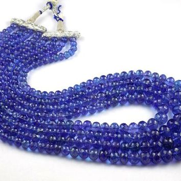 Natural Tanzanite Faceted Necklace 1240 Ct Size 6-14mm 4 Strands,Rondelle Beads Necklace Dark Blue,Natural Women Tanzanite Beads Necklace.