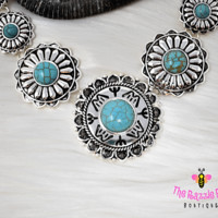 Turquoise Circle of Flowers Necklace