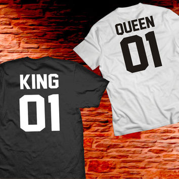 King Queen Couple Shirts, Couples Tshirts, Matching King and Queen 100% Cotton T-shirts