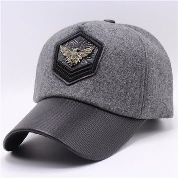 New Eagle Dad Snapback Hats Winter Warm Wool Bone Baseball Caps Gorras Unisex Strapback Cap Grey Trucker Visor Cap
