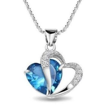 M Tara 1pc 925 Sterling Silver  Plated Blue Crystal Gemstone Amethyst Heart Pendant Necklace Gift = 1933128772