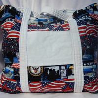 Navy Quilted tote Bag