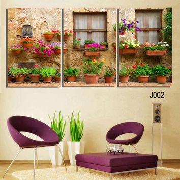 3 Panels Traditional Scenery Flower Wall Art Canvas