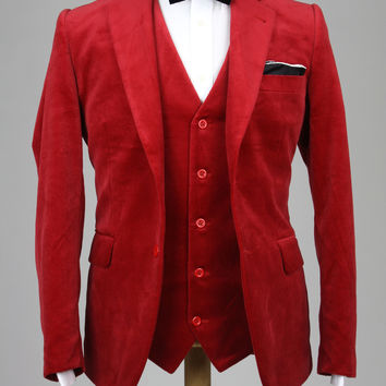 Cranberry Velvet Handmade Slim Fit 3 Piece Suit 42 R Monkey Suits