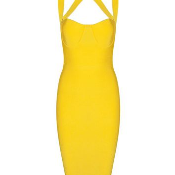 Honey Couture NINA Yellow Halter Bustier Bandage Dress