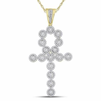 14kt Yellow Gold Mens Round Diamond Ankh Cross Charm Pendant 2-5/8 Cttw