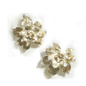 Silvery Maple Leaf Earrings, Designer - Sarah Coventry