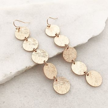 Circle Disc Long Earrings - Gold