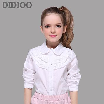 School Kids White Blouses For Girls Children Clothing Long Sleeve Cotton Lace Shirts Girls Teenage Tops