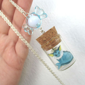 Pokémon Necklace - VAPOREON and RARE CANDY- Toy in a Bottle - Gamer Gear