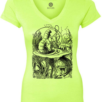 Alice in Wonderland - The Smoking Caterpillar (Black) Women's Short-Sleeve V-Neck T-Shirt