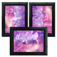 Pink Butterfly Art Prints, Set of Three, 7x5 inch Prints, Archival Watercolour Paper, Fairytale Bokeh