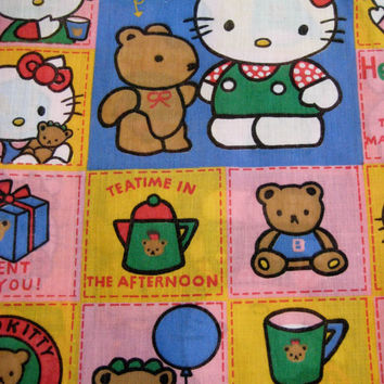 Vintage Hello Kitty Sanrio TWIN Bed Size Duvet Cover Bedding Kids Girl Craft Fabric Bedroom Decor Used Clean