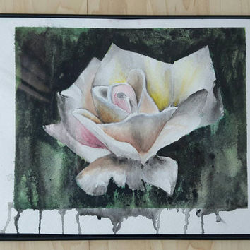 Framed Original Watercolor Rose Painting, watercolor paint, hand painted, rose painting, pretty white rose, elegant rose, wall decor