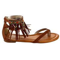 Natural Fringe Beaded Sandals