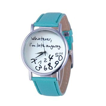Day-First™ Whatever I'm late anyway Figure Women Wristwatch Watches Quartz Watch