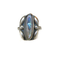 Sterling Ring, Abalone Shell, Vintage Sterling, Vintage Ring, Mexican, Native American, Silver 925, Vintage Jewelry
