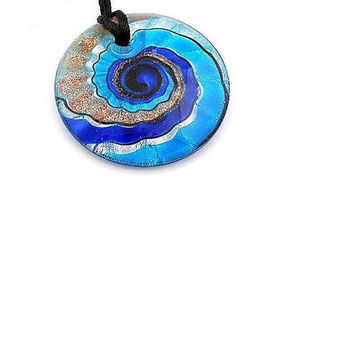 Lamp Work  Murano Glass  Pendant Necklace  - 50MM Blue Lampwork  Murano Glass  Pendant
