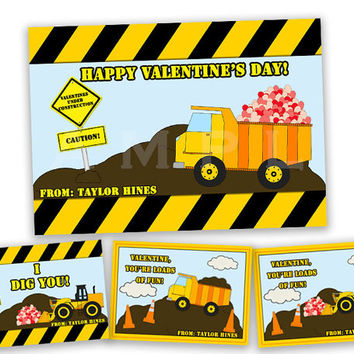 Boys Dump Truck Valentines - Classroom Valentine Day Cards - Dig You - Loads of Fun - Construction Valentine - Boy Valentines - Heart