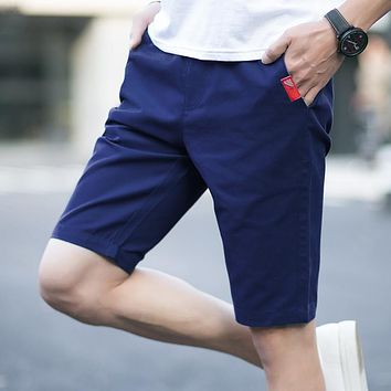 2017 Men Cotton Chino New Drawstring Mens Shorts Beach Board Shorts keen length Cargo Shorts Fashion Male Joggers Trousers hot
