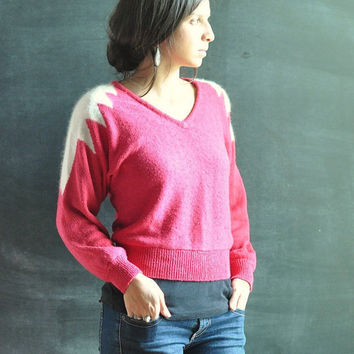 Vintage Sweater 80s White Angora and Pink Frosty